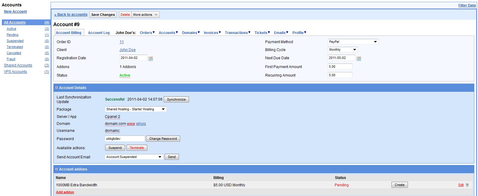 Manage accounts from admin area