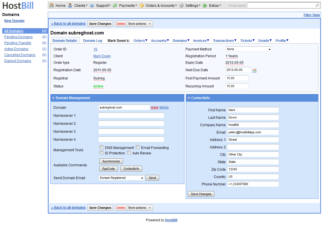 Domain management from admin area